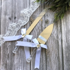 Ribbon Wedding Cake Knife & Server Set