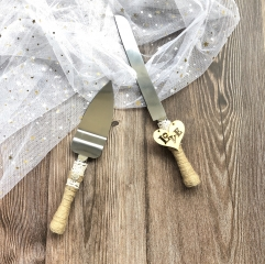 Wedding Cake Knife and Server Set -Burlap Wrapped Handle