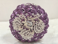 Sparkle Rhinestone Jewelry Bouquet - Satin Rose with Peacock Butterfly Brooches Wedding Flower (Purple)