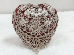 Crystal Jewelry Bouquet Wedding Satin Rose - Advanced Rhinestone Pearl Brooches Wedding Flower (Burgundy)