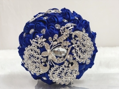 Sparkle Rhinestone Jewelry Bouquet - Satin Rose with Peacock Butterfly Brooches Wedding Flower (Royal Blue)