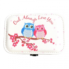 Owl Pattern Travel Jewelry Box Organizer (Blue & Pink)