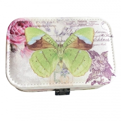 Butterfly Print Jewelry Box Organizer with Mirror (Green)