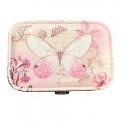 Butterfly Print Jewelry Box Organizer with Mirror (Pink)