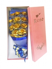 Artificial Golden Foil Rose Bouquet (Gold)