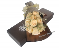 Decent Rose Bouquet Gift Box - 11pcs Soap Flowers (Beige)