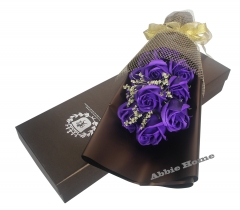 Decent Rose Bouquet Gift Box - 11pcs Soap Flowers (Dark Purple)