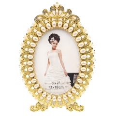 "5x7""8x10""Pearl Crown Detail Wedding Photo Frame (Gold)"