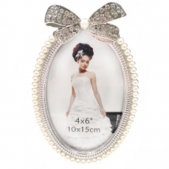 "4x6""5x7""Rhinestone Bow Wedding Picture Frame (Creamy White)"