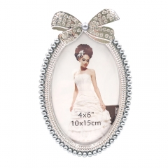 "4x6""5x7""Rhinestone Bow Wedding Picture Frame (Silver)"