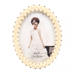 "5x7""8x10""Pearls Decorated Picture Holder Display Anniversary Present for Family Newlyweds"