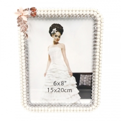 "6x8""8x10""Romantic Wedding Gift  Pearls Jewels Detail Photo Frame (6x8, White)"