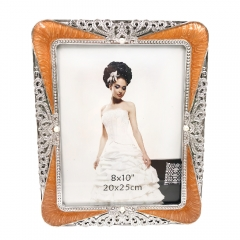 "8x10""Rhinestone Decorated Picture Holder Gift for Couple Valentines Anniversary for Family (Brown)"