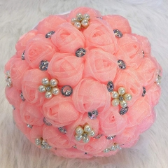 Sparkle Rhinestone Pearl Jewelry Bouquet - Bride Wedding Quinceanera Rose Flower (Coral, 8 Inch)