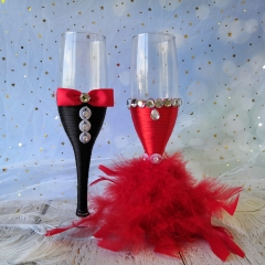 Wedding Champagne Toasting Flute - Red Feather Dress Black Suit Rhinestone