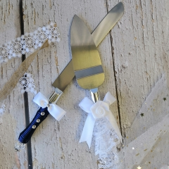 Wedding Anniversary Cake Knife and Server Set - Rhinestone Bow Tie Décor