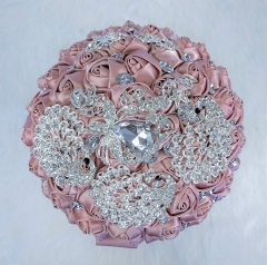 Sparkle Rhinestone Jewelry Bouquet - Satin Rose with Peacock Butterfly Brooches Bride Bridesmaids Wedding Flower (Blush Pink, 8 Inch)