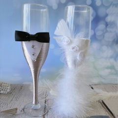 Wedding Champagne Toasting Flute - White Feather Dress Grey Suit