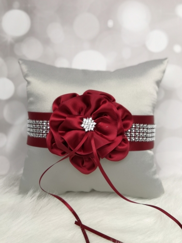 Grey and Red Flower Wedding Ring Bearer Pillow