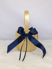 Gold and Navy Blue Wedding Flower Girl Basket