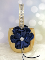 Rhinestone Navy Blue Flower Wedding Flower Girl Basket