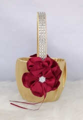 Rhinestone Red Flower Wedding Flower Girl Basket