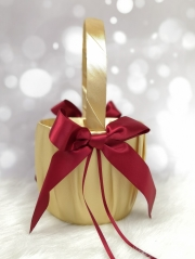 Gold and Red Wedding Flower Girl Basket