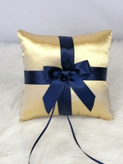 Navy Blue Bow Wedding Ring Bearer Pillow