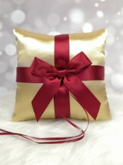 Red Bow Wedding Ring Bearer Pillow