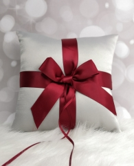 Grey and Red Bow Wedding Ring Bearer Pillow