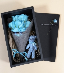 Blue Confession Scented Soap Rose Teddy Bear Gift Box Birthday Mother's Anniversary
