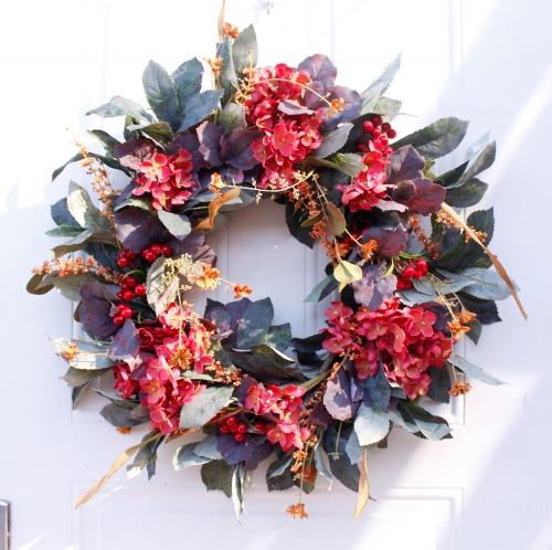 "24"" Artificial Fall Wreath - Red Hydrangea Series Berry Rustic Leaves Multicolor Floral Wreath"