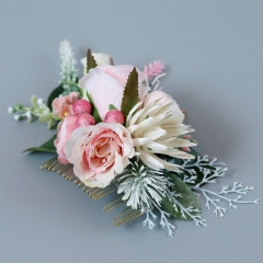 Abbie Home Flower Hair Comb - Floral Boho Comb with Rose Berry Handmade Bridal Crown Wedding Floral Headpiece (Creamy White)