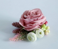 Wrist Corsages Blush Pink Rose Flower Elastic Wristband Corsages Bridesmaid Hand Flower for Wedding Festival Party Prom