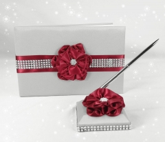 Wedding Guest Book and Pen Set in Silver Satin Cover with Burgundy Ribbon Flower Rhinestone Decor Party Favor Set Luxurious Satin Collection Favor Set