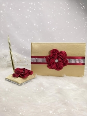 Wedding Guest Book and Pen Set in Gold Satin Cover with Burgundy Ribbon Flower Rhinestone Decor Luxury Satin Collection Party Favor Set (Burgundy+Gold