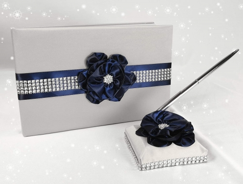 Wedding Guest Book and Pen Set in Silver Satin Cover with Navy Blue Ribbon Flower Rhinestone Decor Luxury Satin Collection Party Favor Set (Navy Blue+